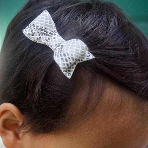 Animal Pattern Faux Leather Hair Bows