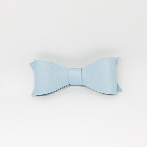 Sky Blue Leather Hair Bows