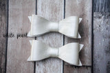 Metallic Faux Leather Hair Bows