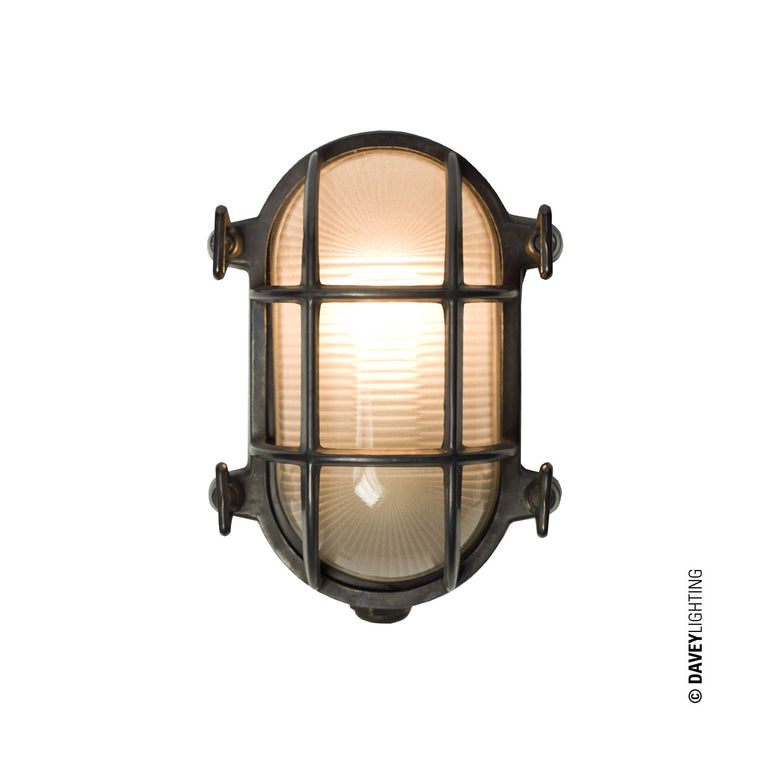 Oval Brass Bulkhead 7036 With Internal Fixing - Weathered Brass (DP7036) (Clearance) by DAVEY LIGHTING