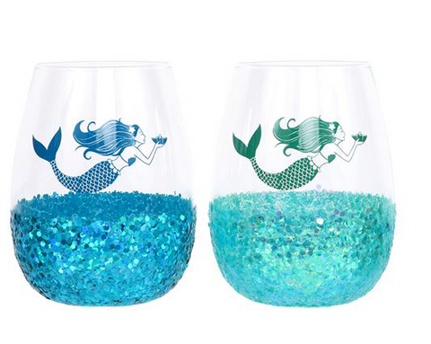 Chunky Glitter Stemless Wine Glass - mermaidinspiration