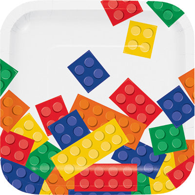 Building Block Party Dessert Plates, 7"
