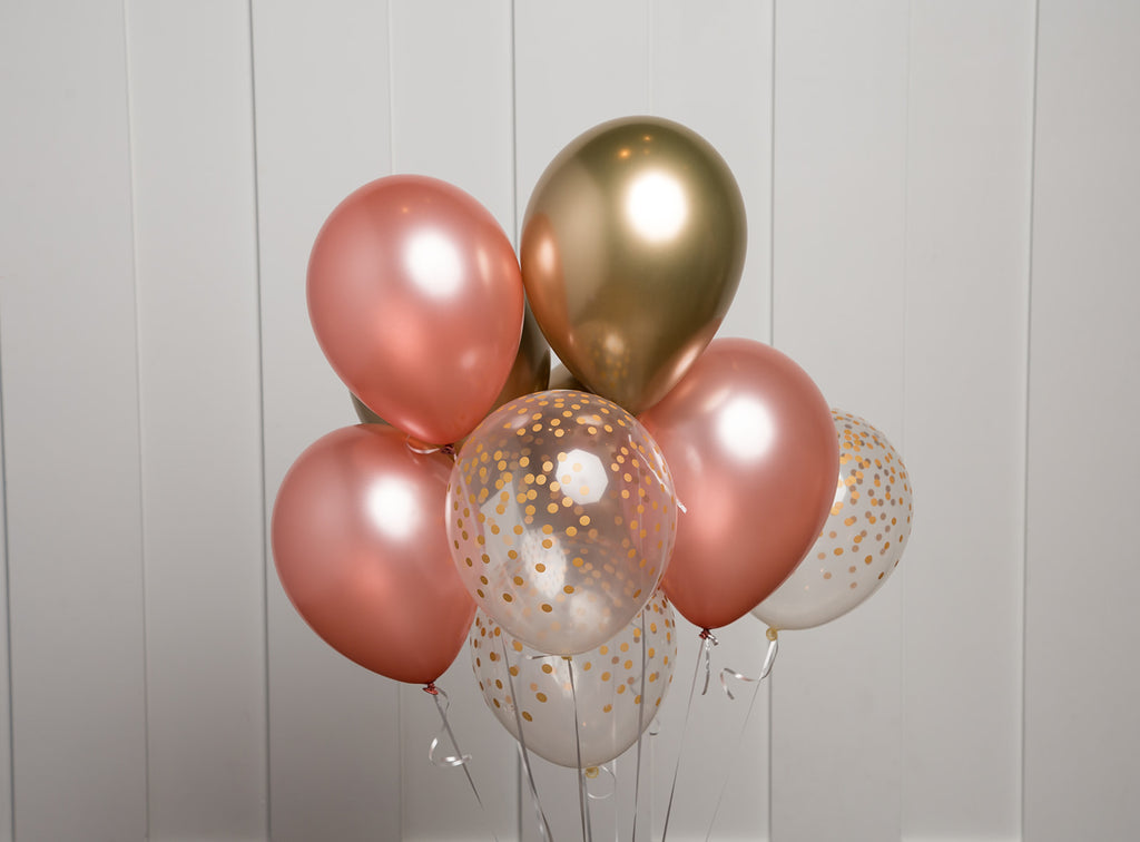 Rose Gold Balloon Bouquet|Mix of 12