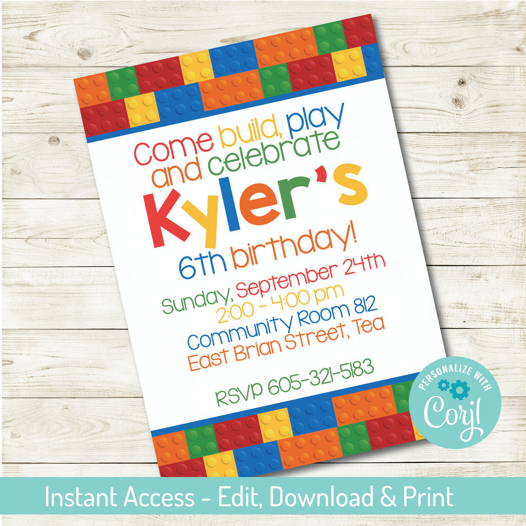 BUILDING BLOCK PARTY INVITATION| BUILDING BLOCK PARTY | EDITABLE