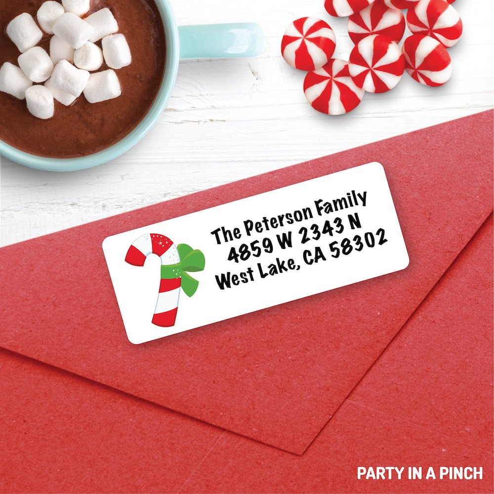 Christmas Candy Cane Address Labels| Personalized