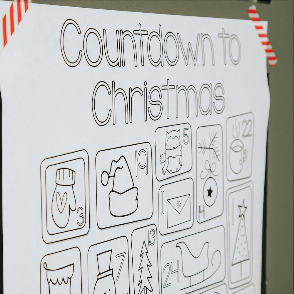 Printable Christmas Countdown Coloring Poster| Instant Download