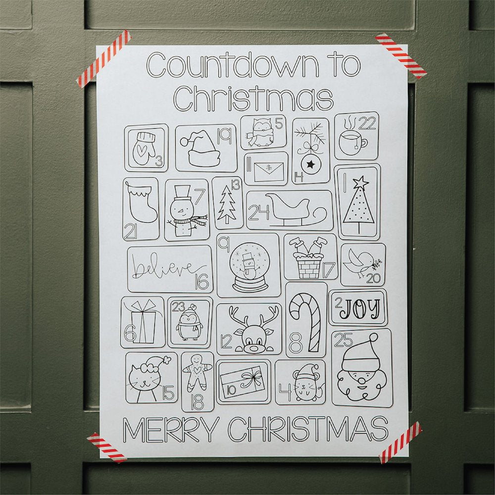 Christmas Countdown Coloring Poster
