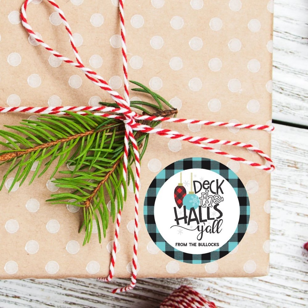 Christmas Deck the Halls Favor Sticker Set 2.5"