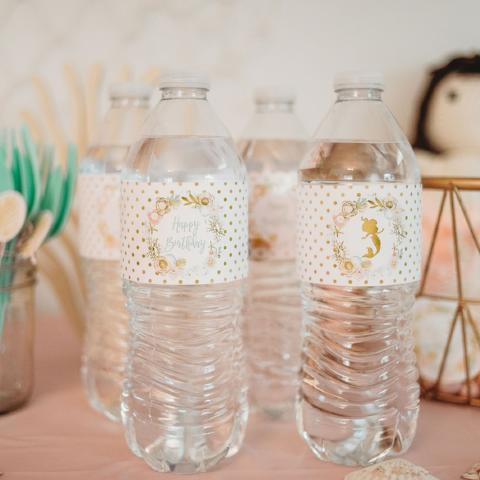 Golden Mermaid Water Bottle Labels| INSTANT DOWNLOAD