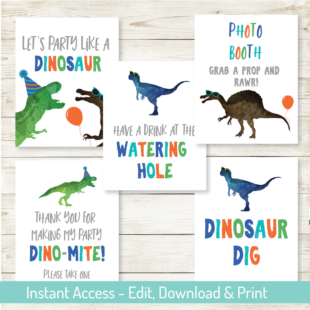 DINOSAUR PARTY 8x10 SIGNS| DINOSAUR PARTY| EDITABLE