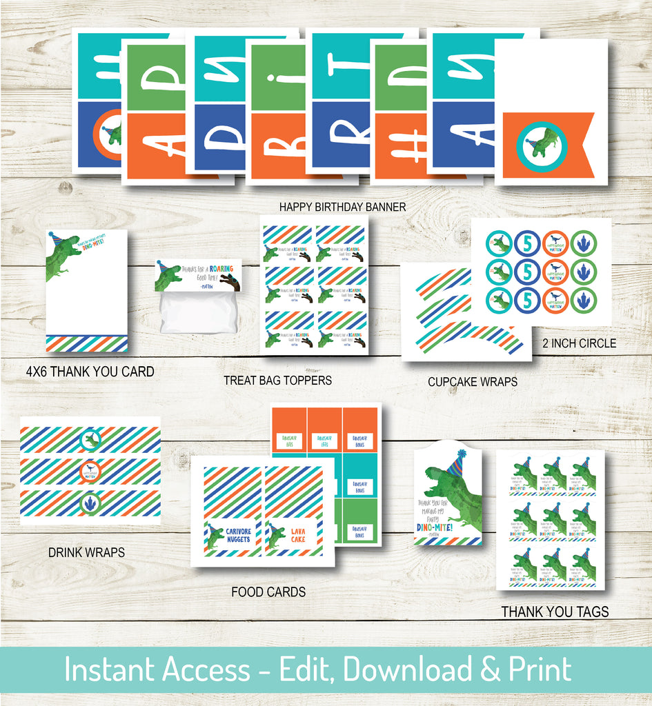 DINOSAUR BIRTHDAY PARTY DECORATIONS | INSTANT DOWNLOAD