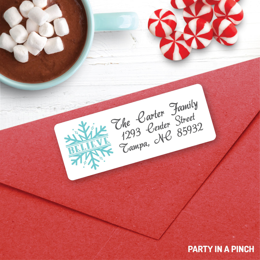 Christmas Believe Snowflake Address Labels| Personalized