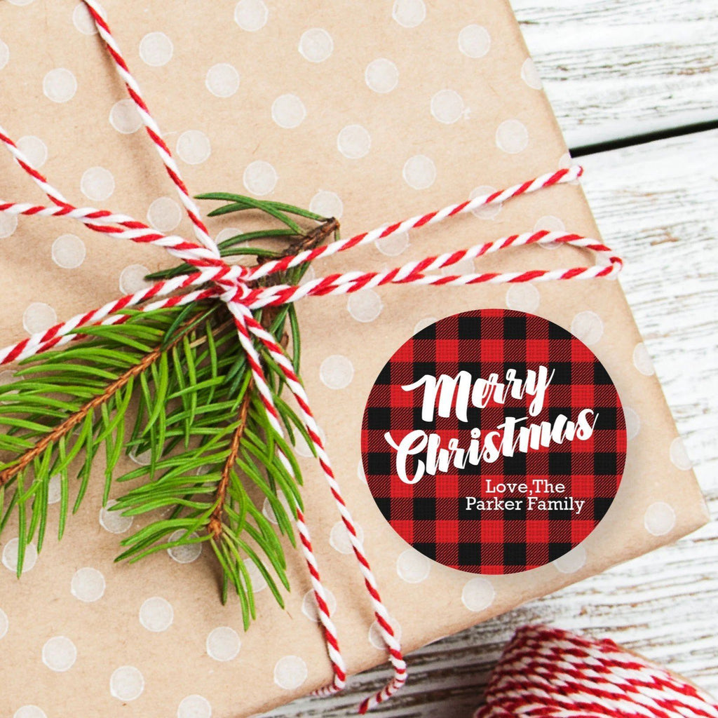 Christmas Buffalo Plaid Red Favor Sticker Set 2.5"