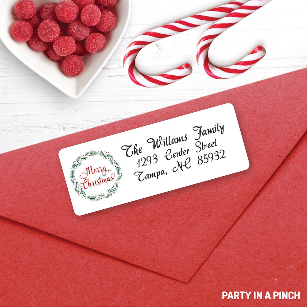 Christmas Christmas Wreath Address Labels| Personalized