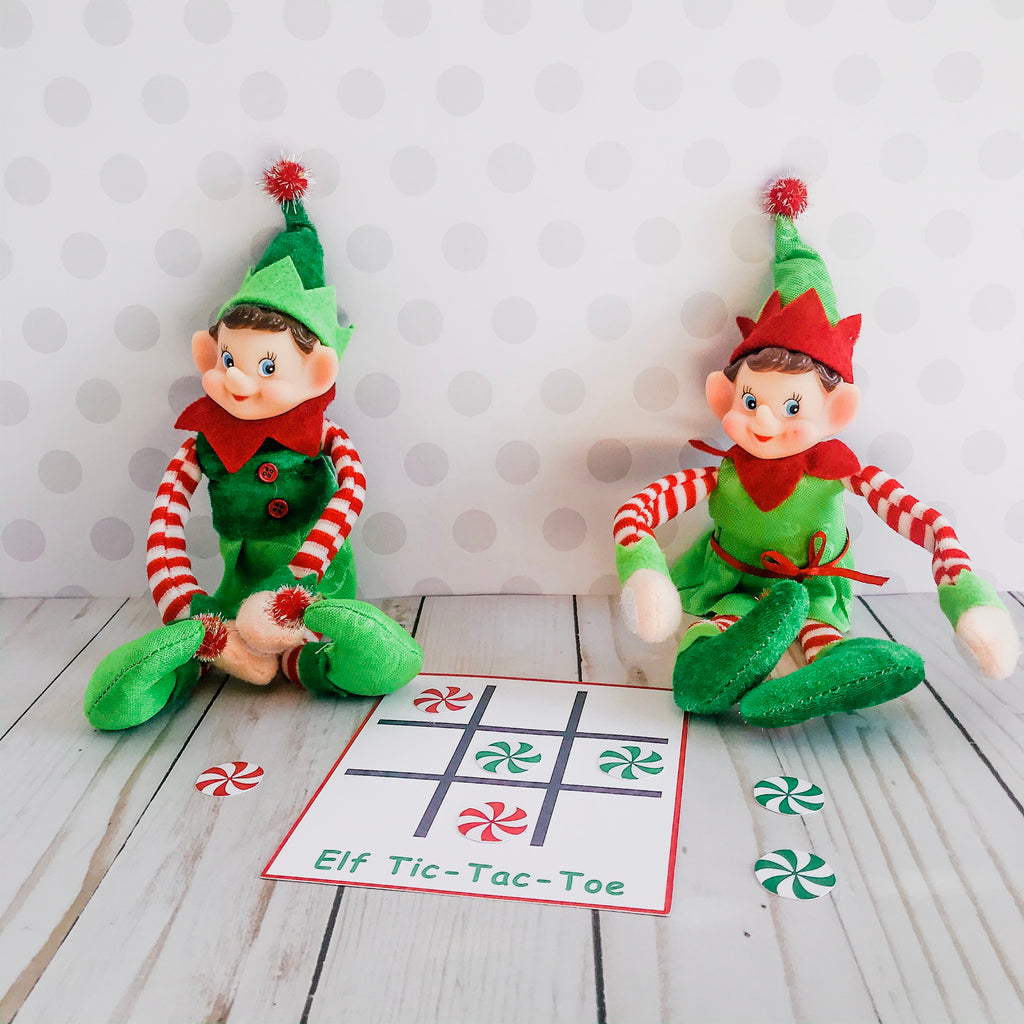 Christmas Elf Tic-Tac-Toe Game, Elf Printable, Instant Download