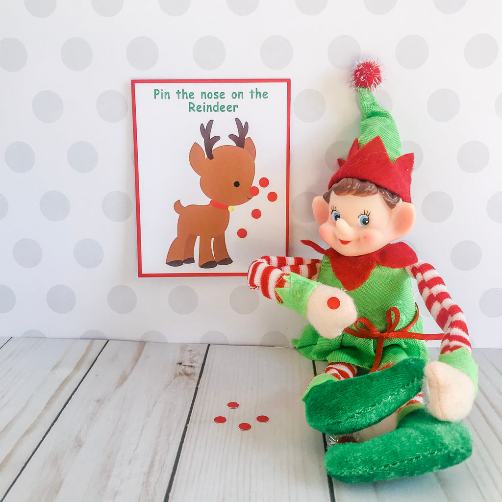 Christmas Elf Pin The Nose Game, Elf Printable, Instant Download