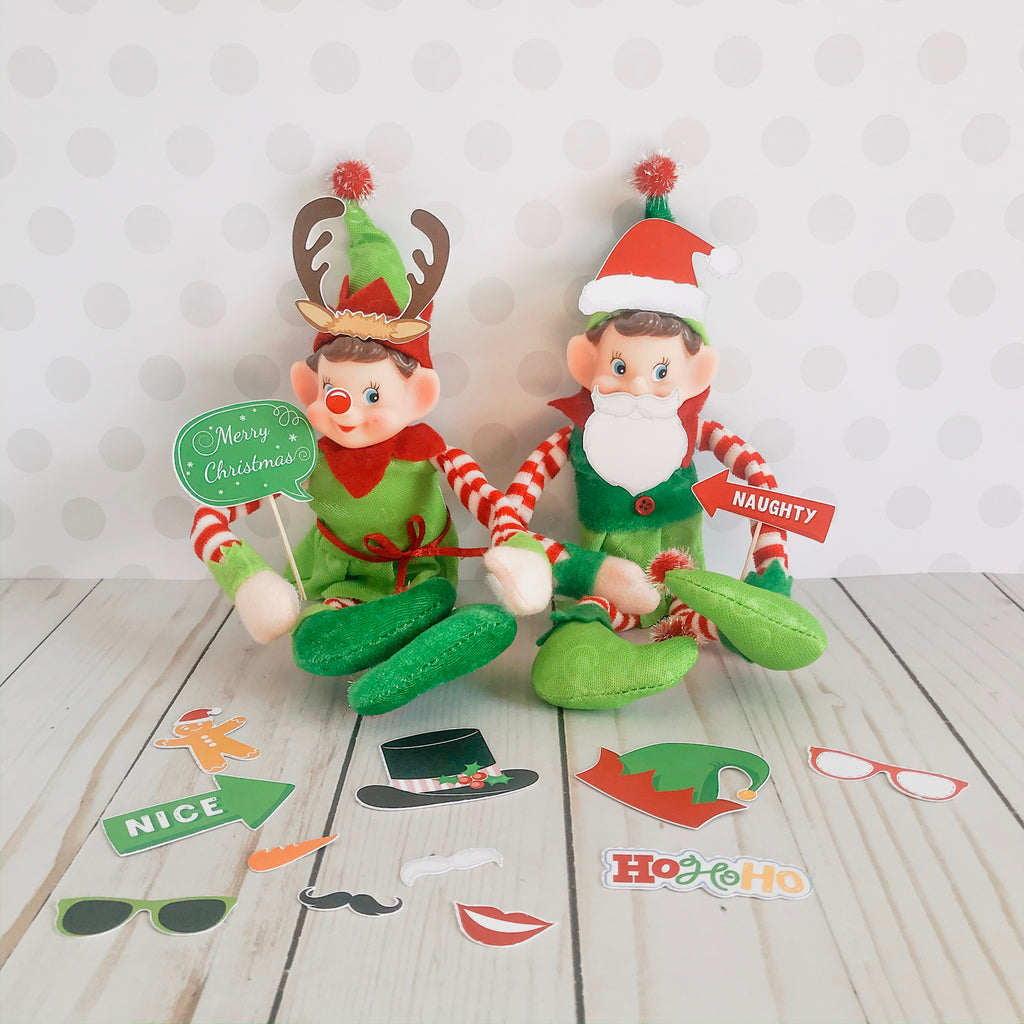 Christmas Elf Photo Booth Props Kit, Elf Printable, Instant Download