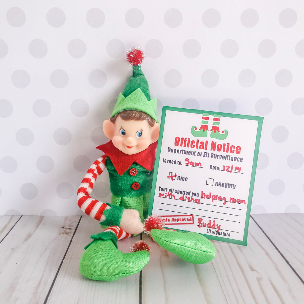 Christmas Elf Official Notice Card, Elf Printable, Instant Download