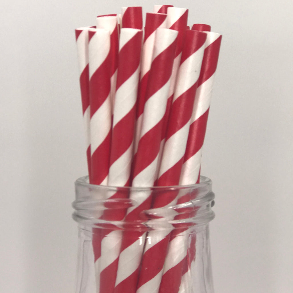 Green Striped Straws/ Pack of 25