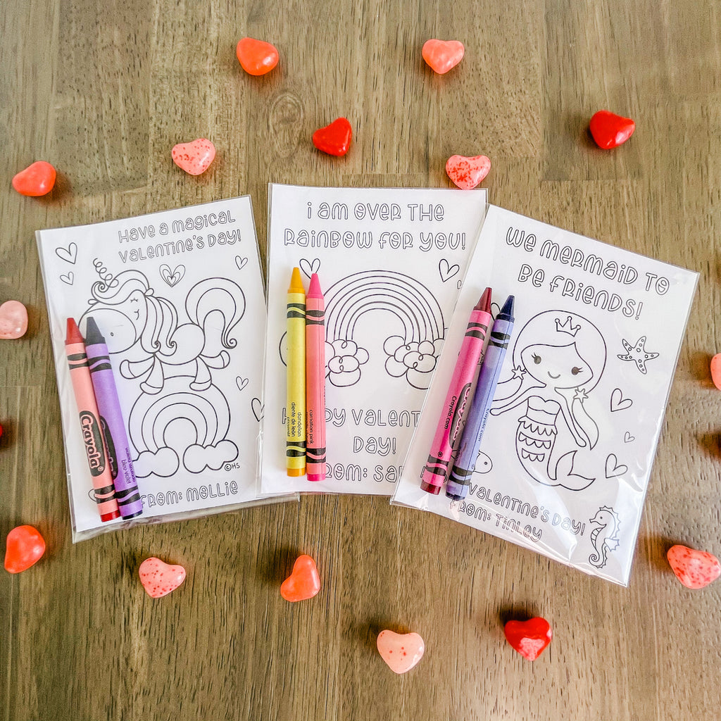 RAINBOW VALENTINE'S DAY COLORING CARDS| Instant Download