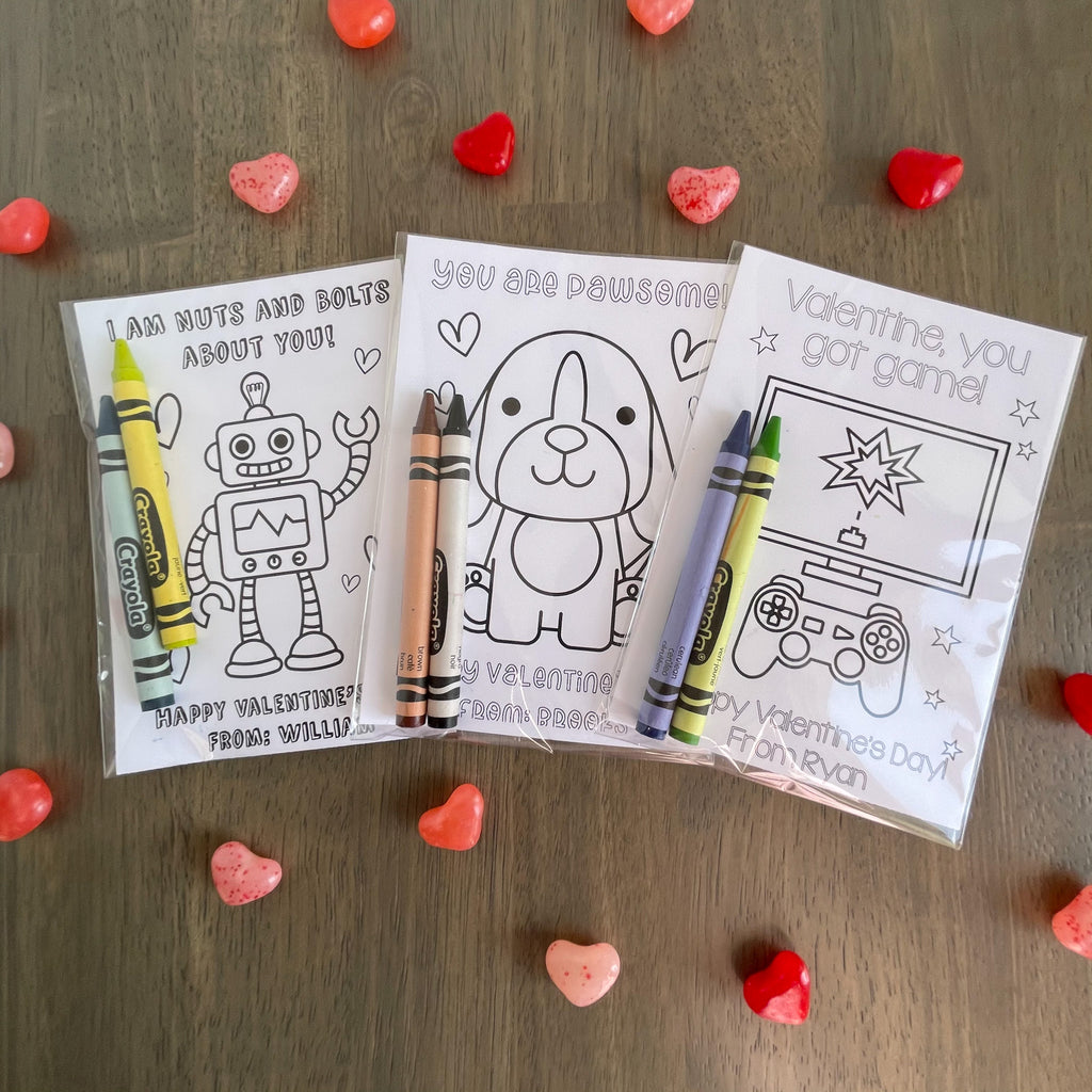 ROBOT VALENTINE'S DAY COLORING CARDS| Instant Download