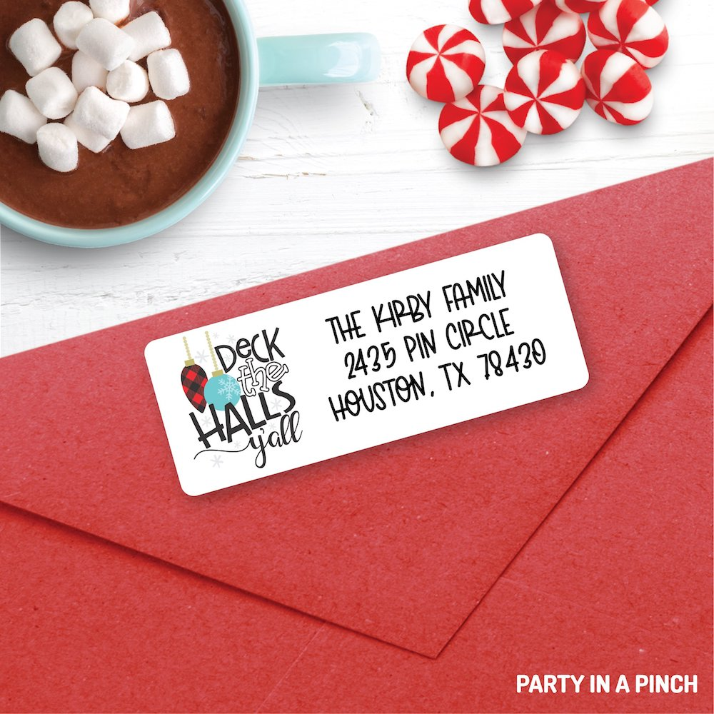 Christmas Deck The Halls Y'all Address Labels| Personalized