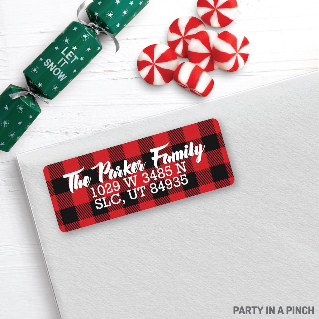 Christmas Buffalo Check Address Labels| Personalized