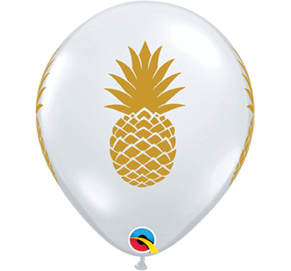 11″ LATEX BALLOON, GOLD PINEAPPLE
