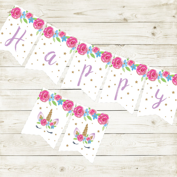 UNICORN HAPPY BIRTHDAY BANNER| INSTANT DOWNLOAD