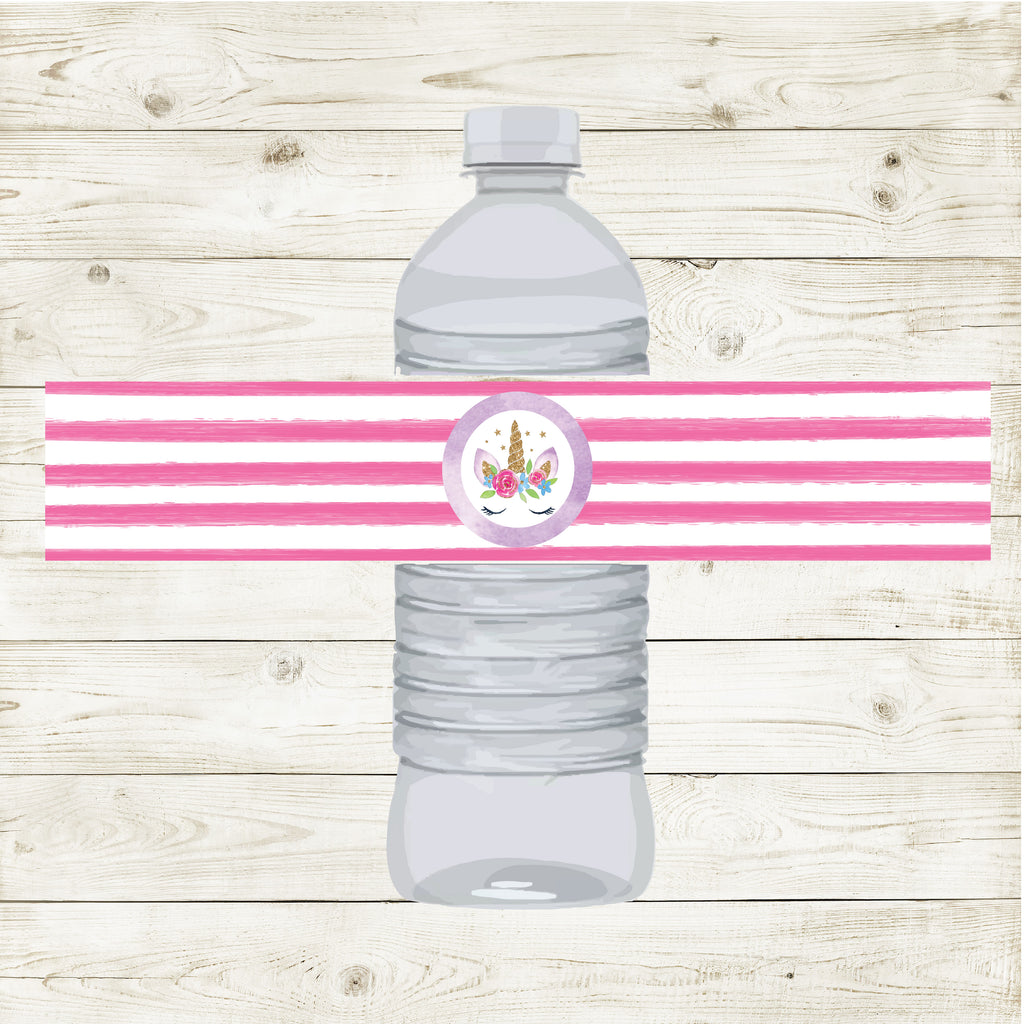 UNICORN WATER BOTTLE LABELS| UNICORN PARTY