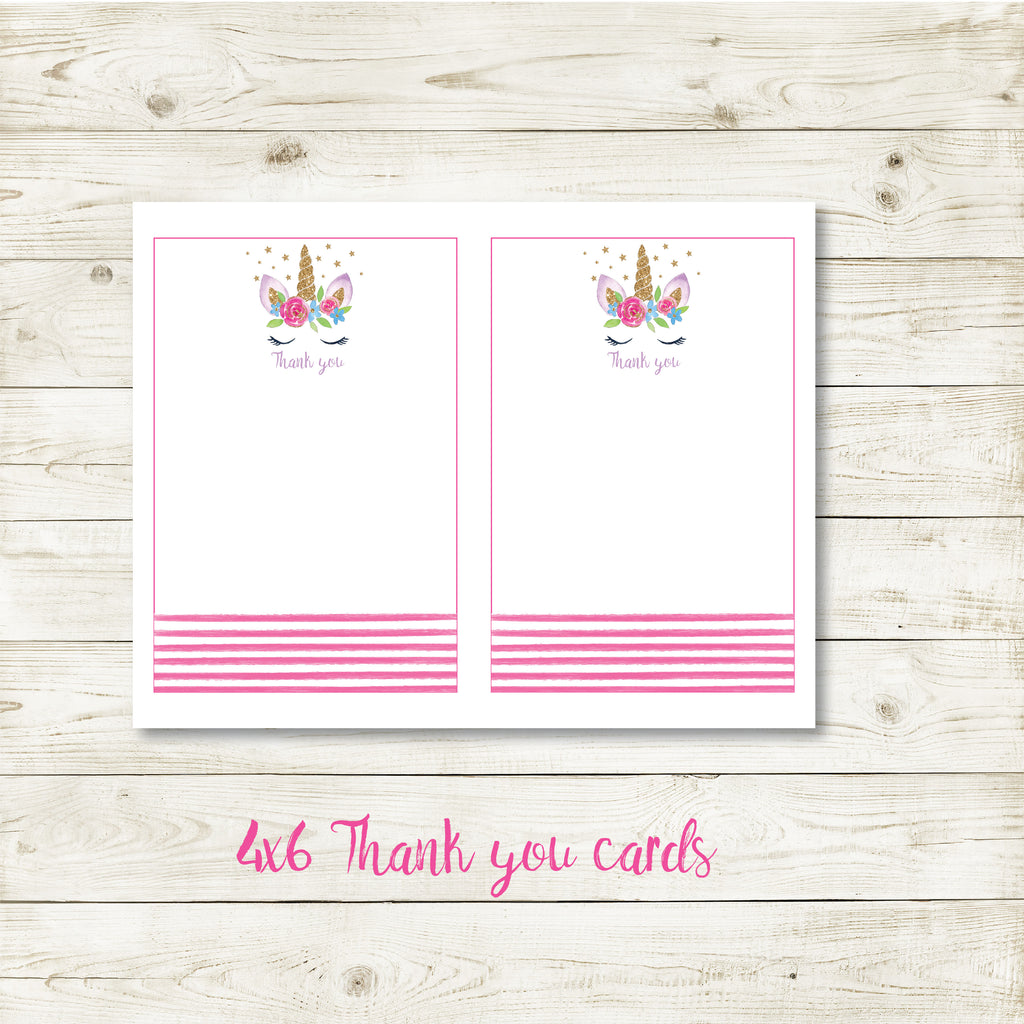 UNICORN 4X6 THANK YOU CARD| UNICORN PARTY| INSTANT DOWNLOAD