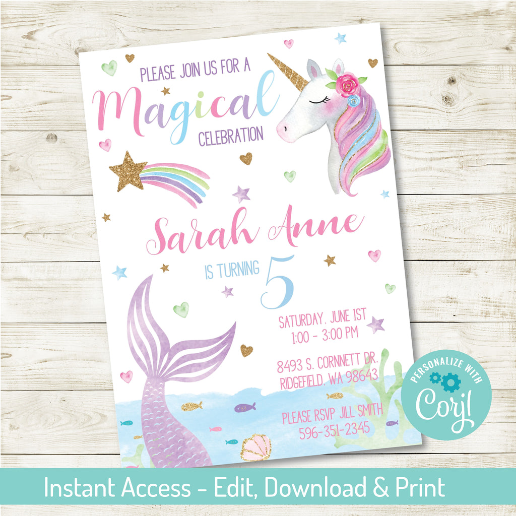 Magical Birthday Party Invitation| Unicorn and Mermaid Party