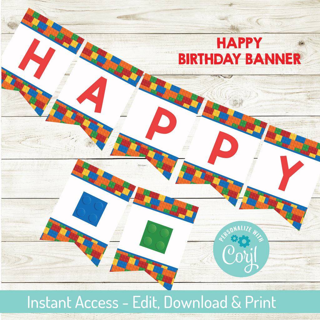 Building Block Happy Birthday Banner |Editable