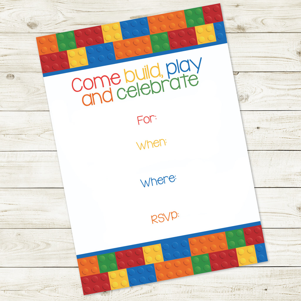 BUILDING BLOCK 5x7 FILL-IN INVITATION| INSTANT DOWNLOAD
