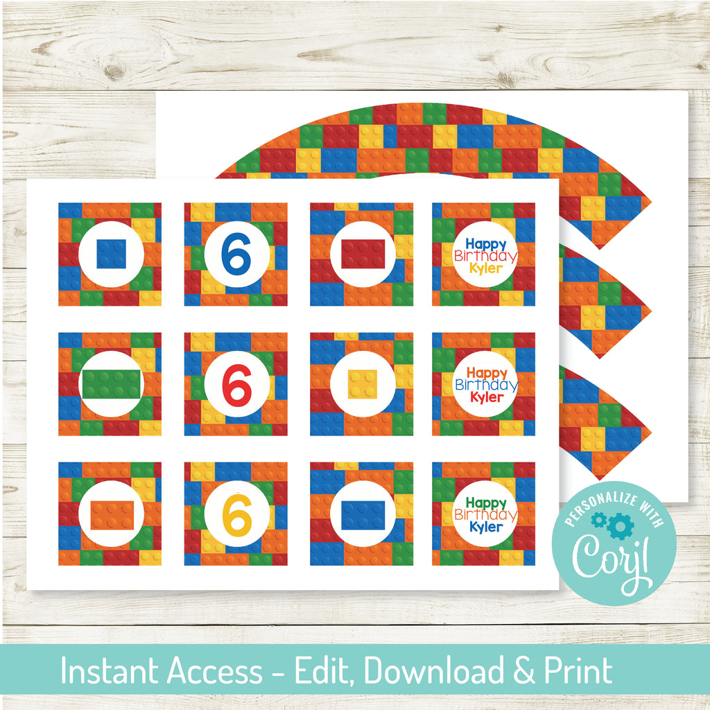 "EDITABLE BUILDING BLOCK PARTY 2"" CUPCAKE WRAPS