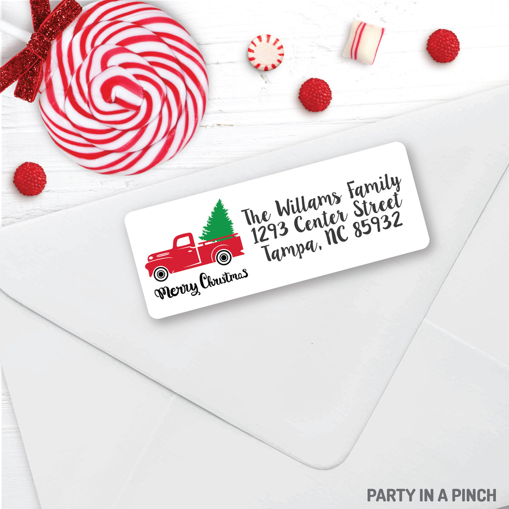Christmas Vintaged Truck Address Labels| Personalized