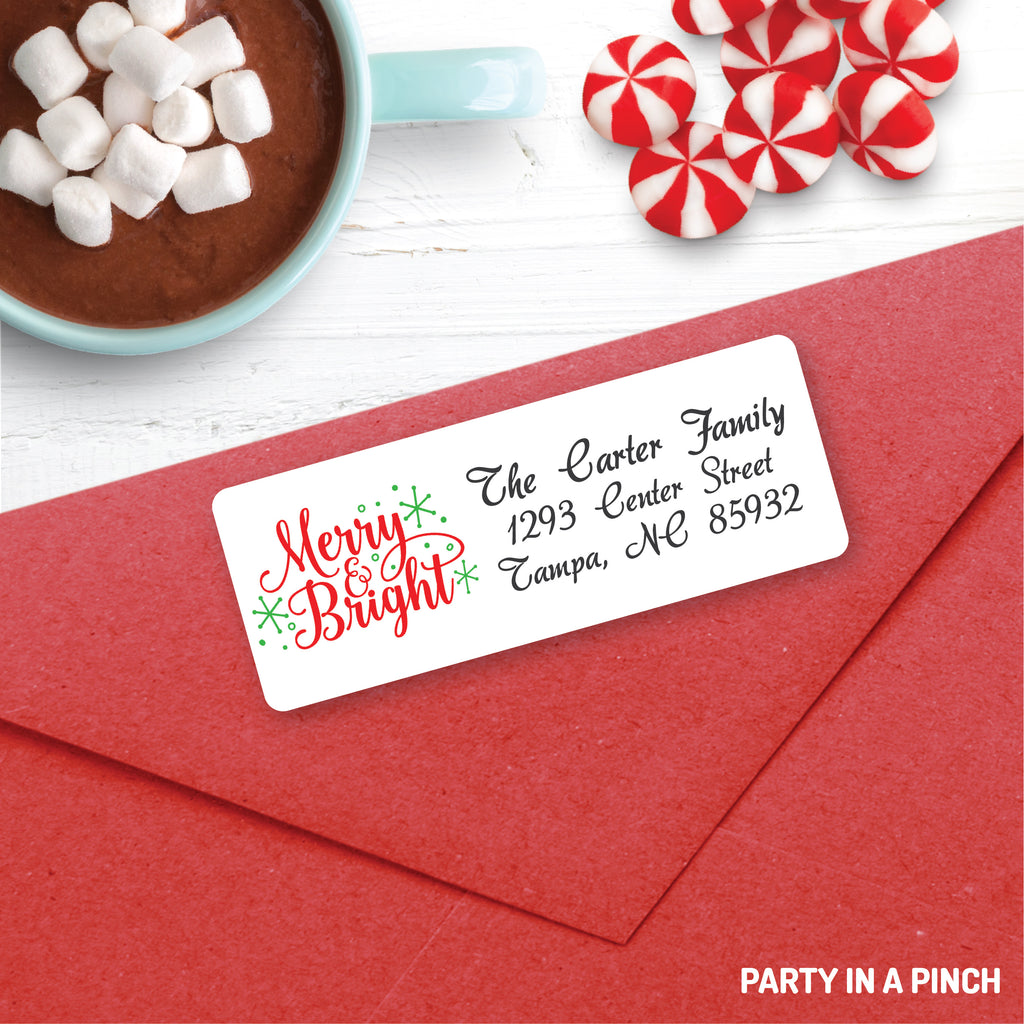 Christmas Merry a Bright Address Labels| Personalized