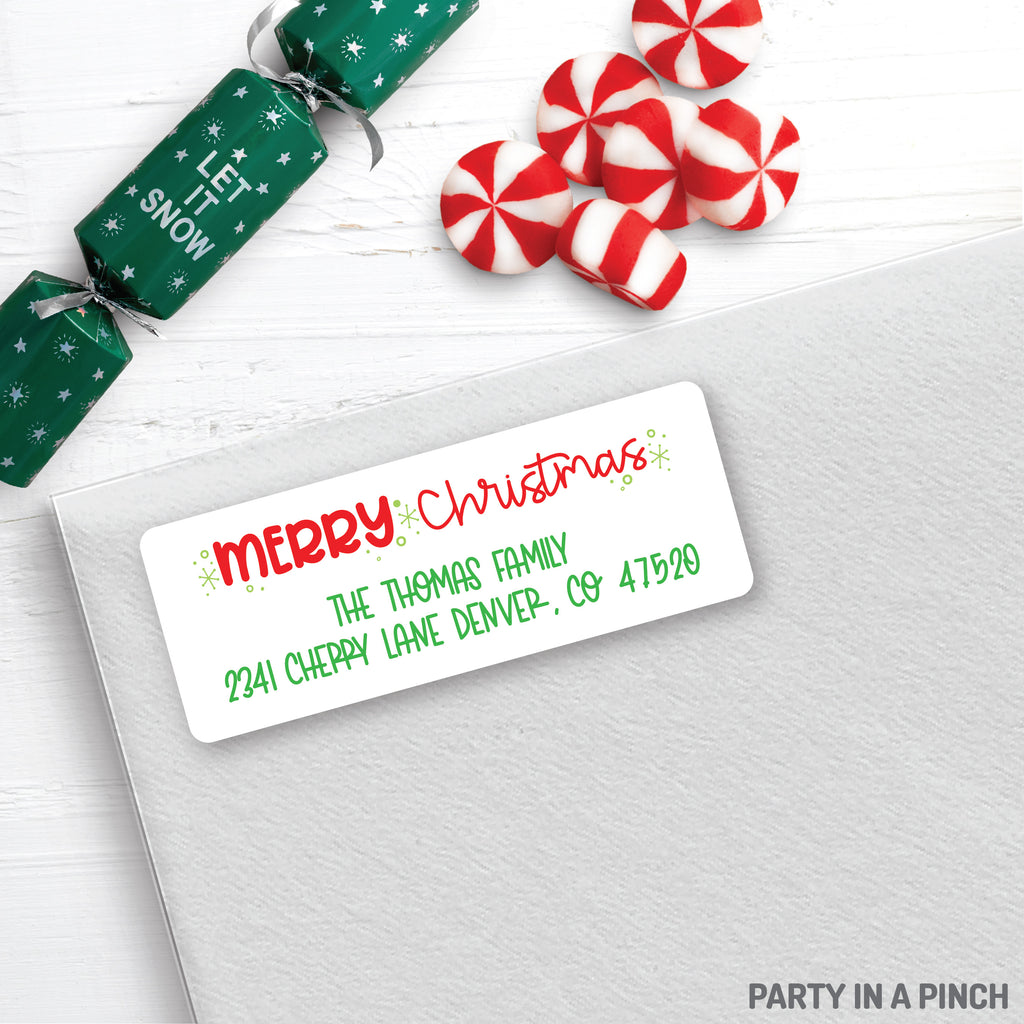 Christmas Merry Christmas Address Labels| Personalized