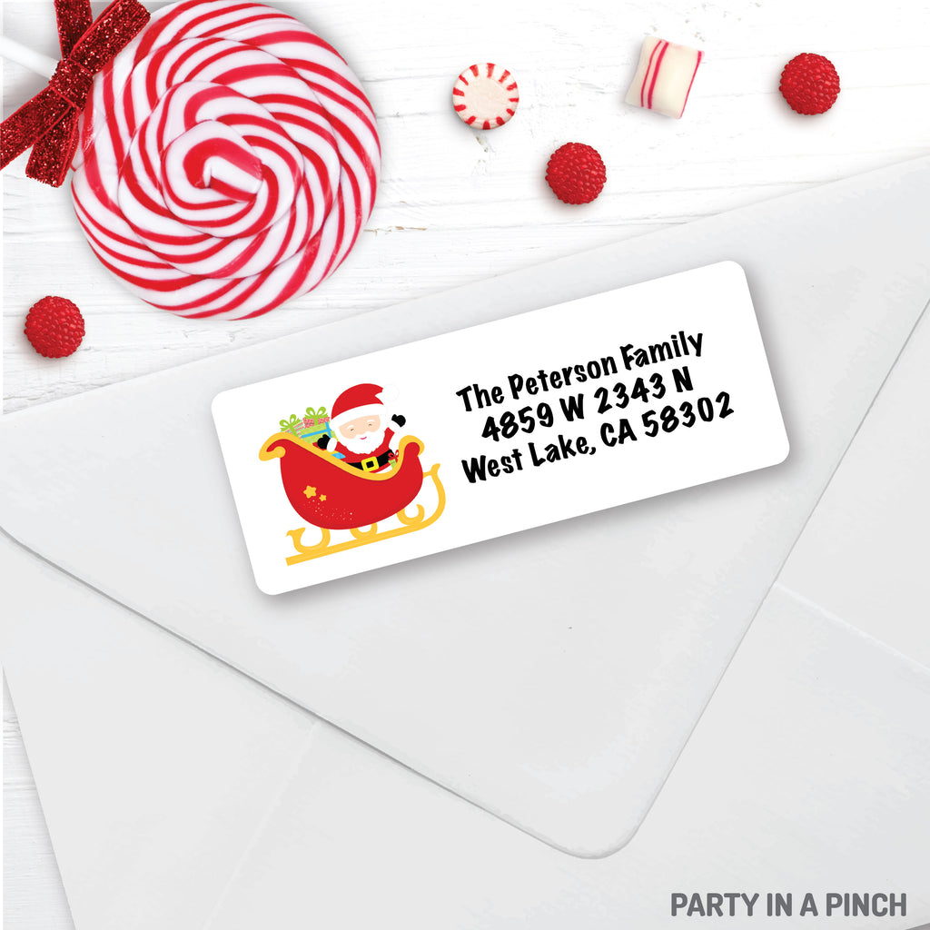 Christmas Santa Sleigh Address Labels| Personalized