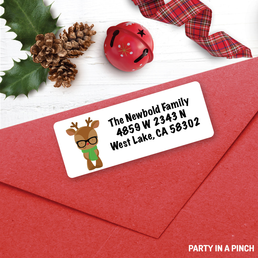 Christmas Reindeer Glasses Address Labels| Personalized