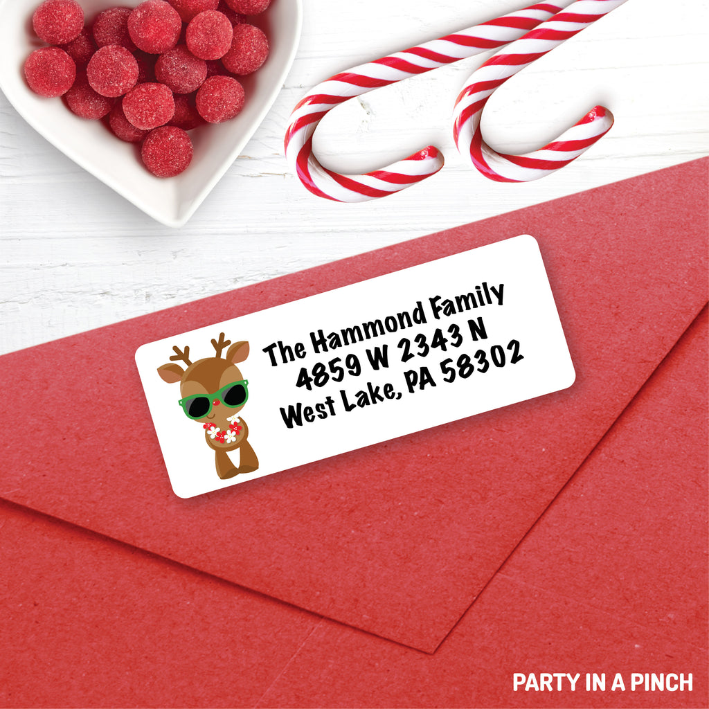Christmas Reindeer Sunglasses Address Labels| Personalized