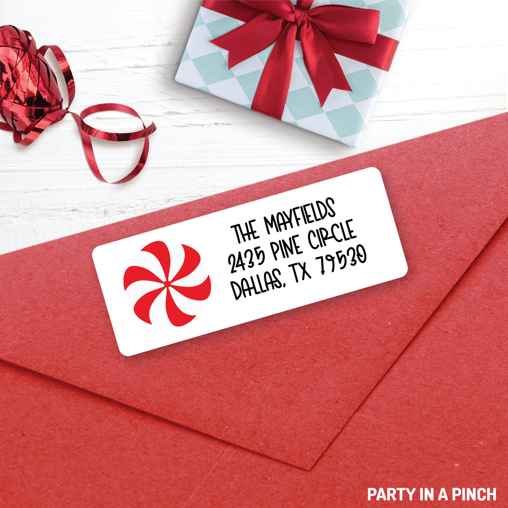 Christmas Peppermint Address Labels| Personalized