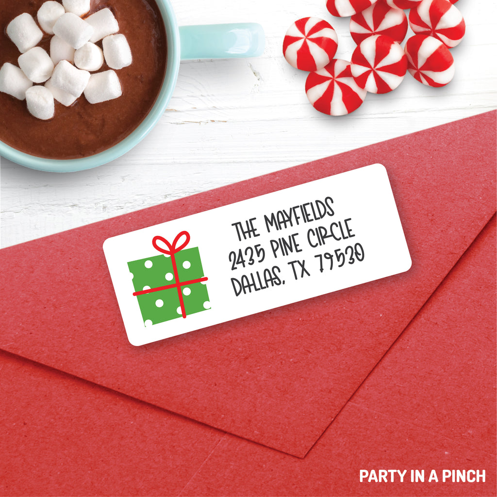 Christmas Present Green Address Labels| Personalized