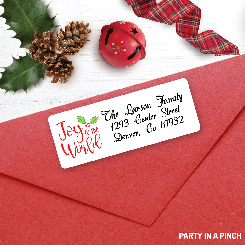 Christmas Joy To The World Address Labels| Personalized