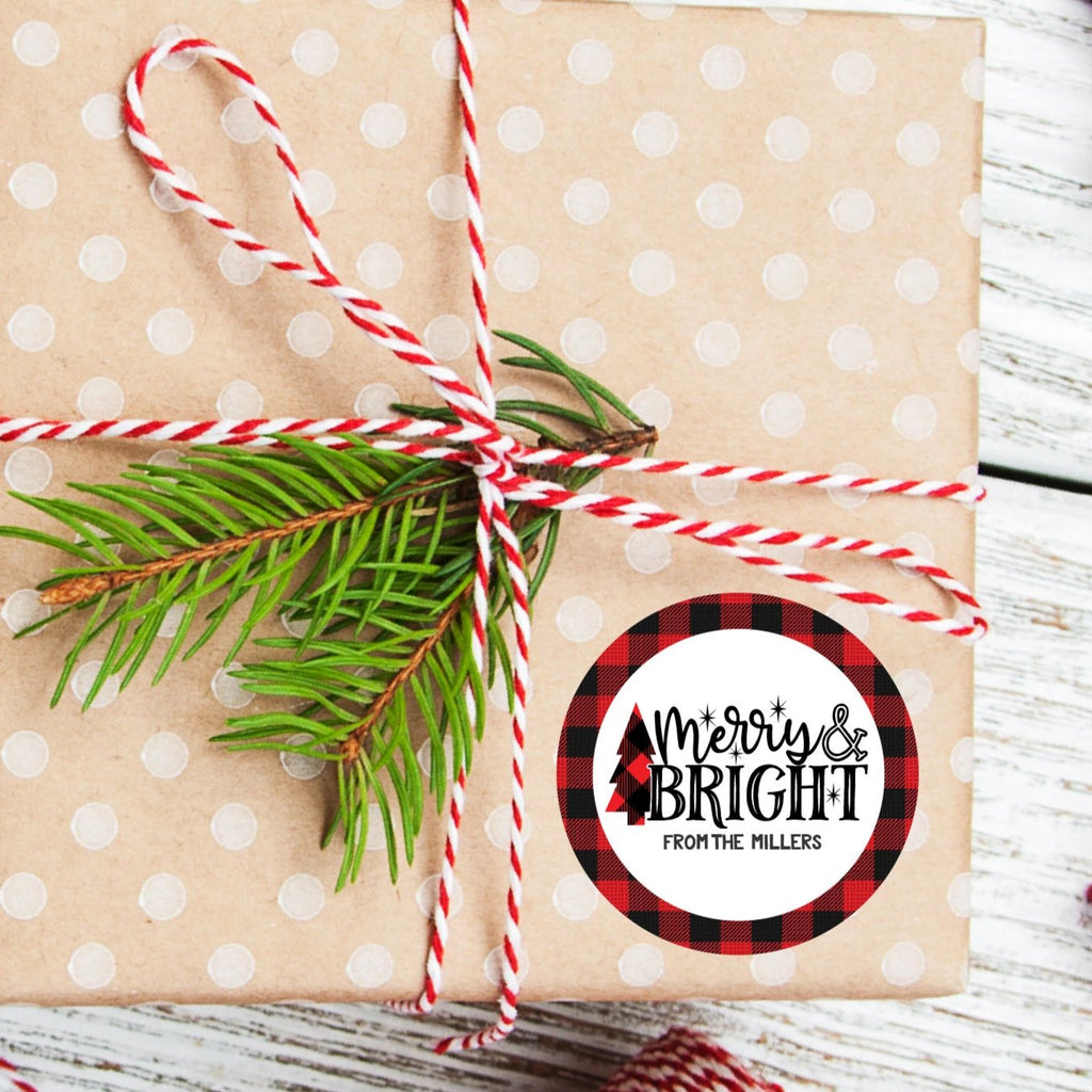 Christmas Merry and Bright Favor Sticker Set 2.5"