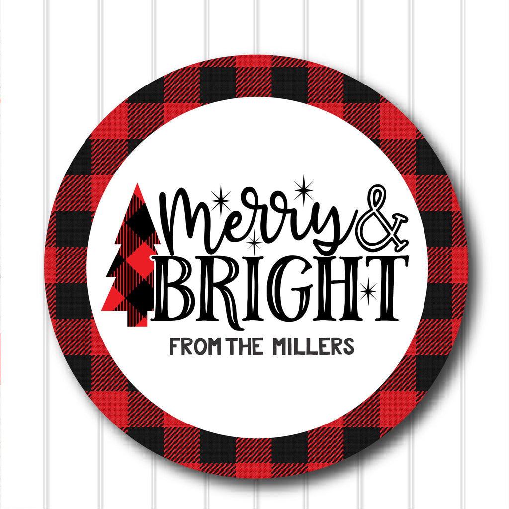 Christmas Merry and Bright Favor Stickers 2.5"