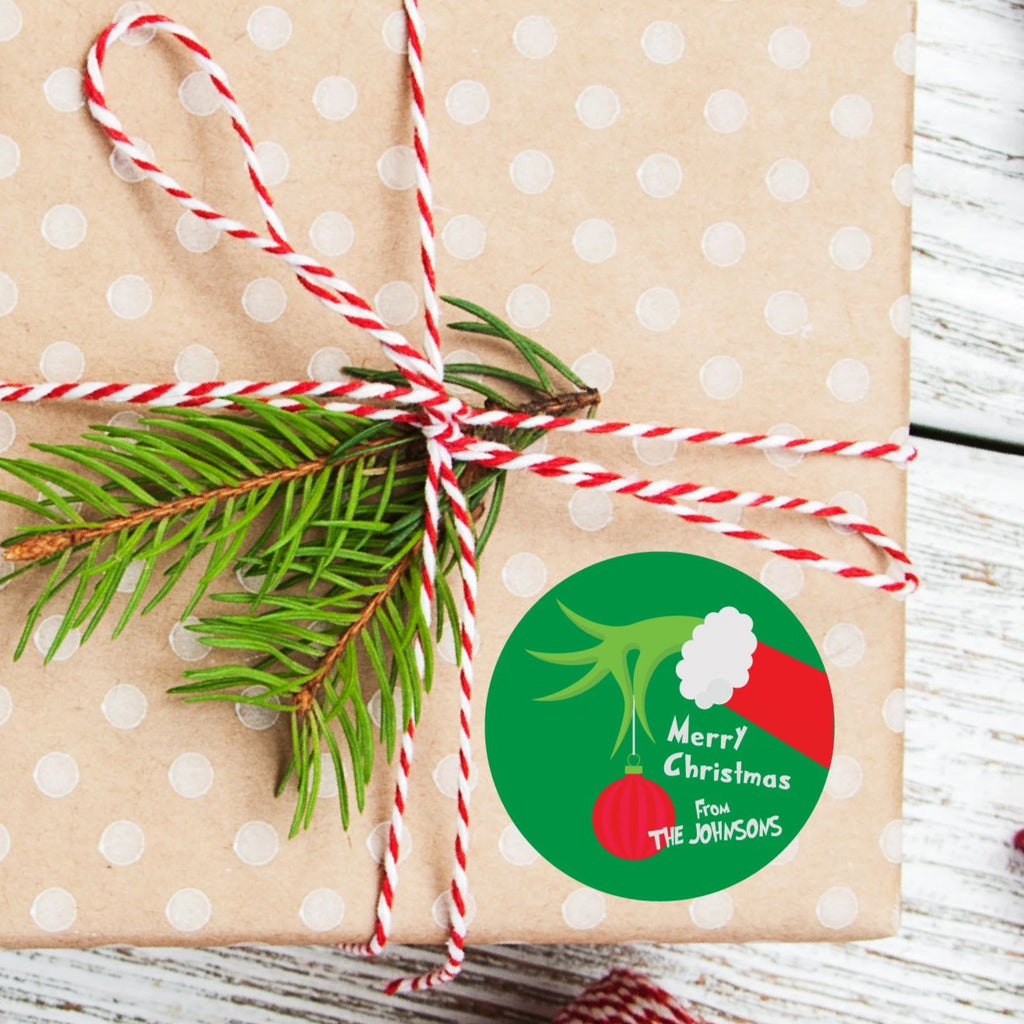 Christmas Grinch Favor Sticker Set 2.5"