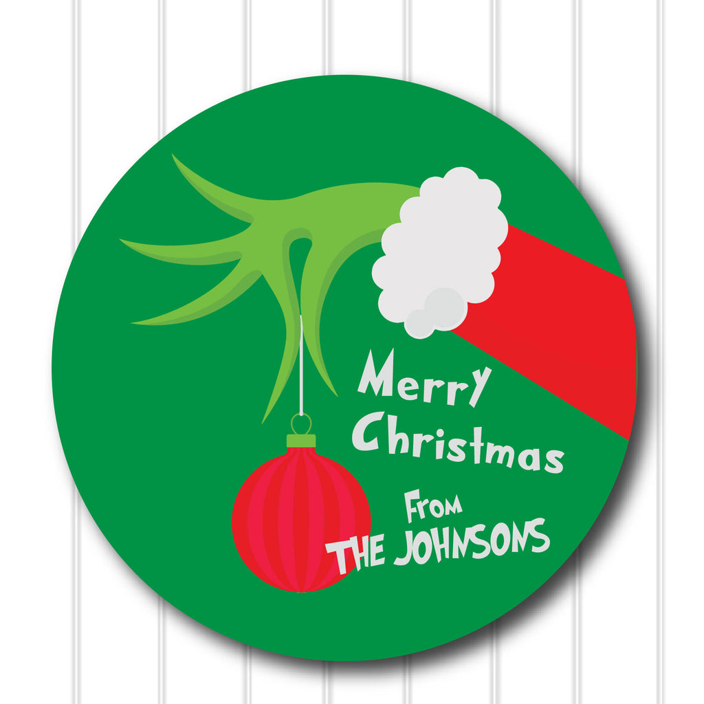 Christmas Grinch Favor Stickers 2.5"