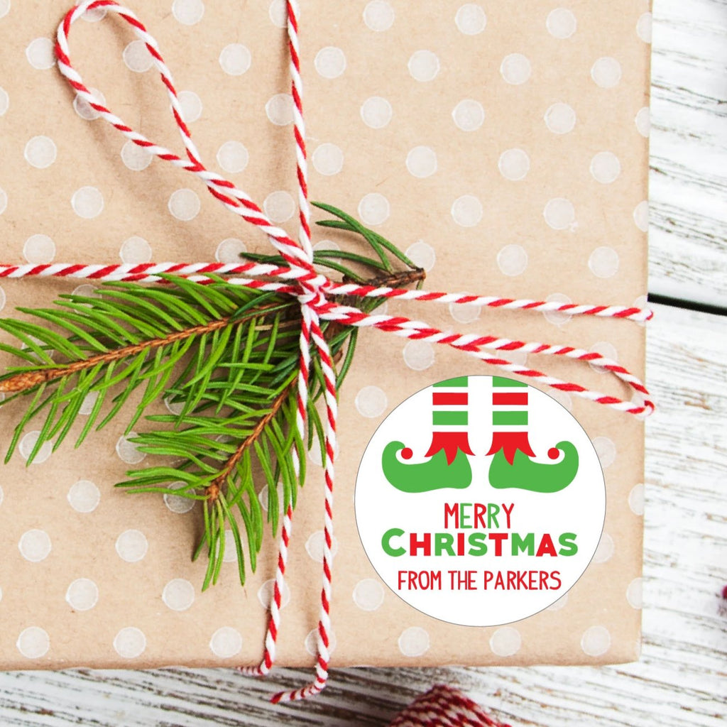 Christmas Elf Feet Favor Sticker Set 2.5"