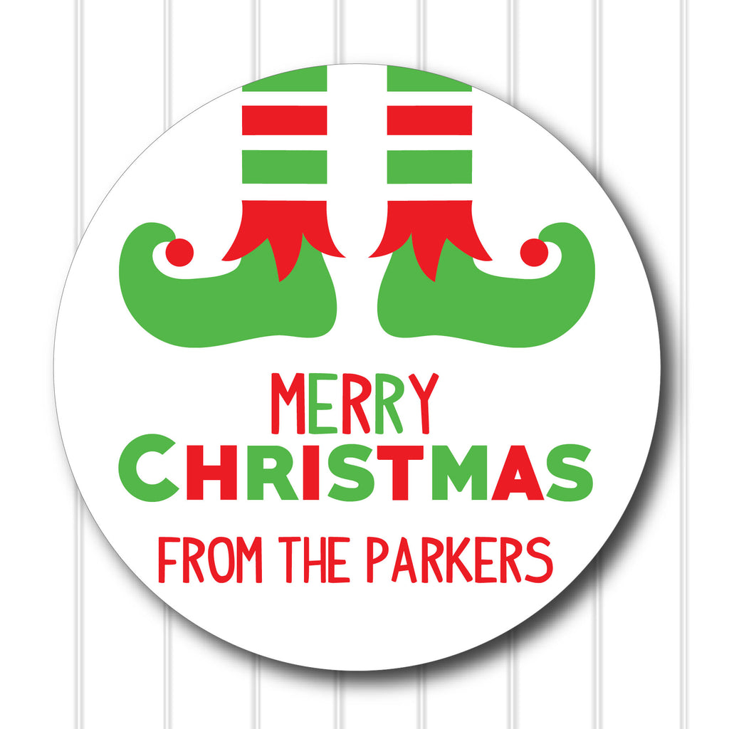 Christmas Elf Feet Favor Stickers 2.5"